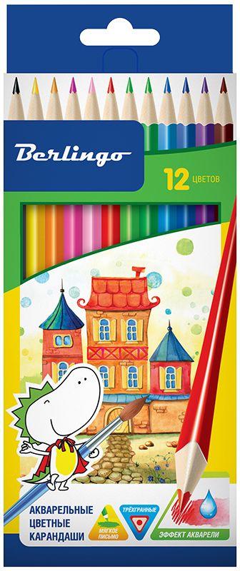 Berlingo Набор цветных акварельных карандашей Сказочный город 12 шт72523WDЦветные карандаши с заточенным грифелем, с эргономичной трехгранной формой корпуса. У карандашей яркие насыщенные цвета, штрихи мягко ложатся на бумагу.Обладают эффектом акварельных красок - нанесенный на бумагу рисунок можно размыть влажной кистью. Карандаши легко затачиваются.