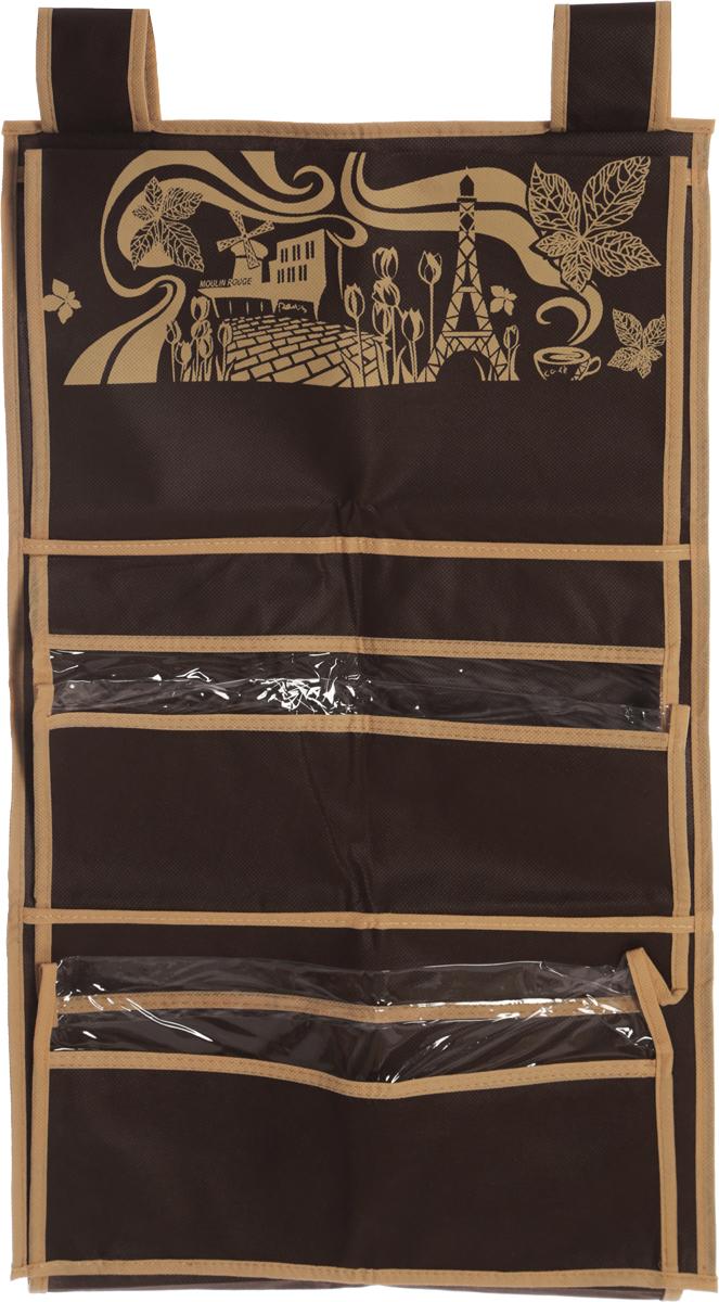 Кофр для сумок и аксессуаров Все на местах Париж, цвет: темно-коричневый, бежевый, 8 секций, 40 х 70 см12723Кофр для сумок и аксессуаров Все на местах Париж выполнен из спанбонда и ПВХ. Модель крепится на штангу в шкафу или вешалку-плечики. Выделено 8 секций для хранения сумок, клатчей, театральных сумок, кошельков, зонтов, перчаток, палантинов, шарфов, шалей и т.д. Кофр решает проблему компактного хранения сумок и экономит место в шкафу.Размеры: 40 х 70 см.
