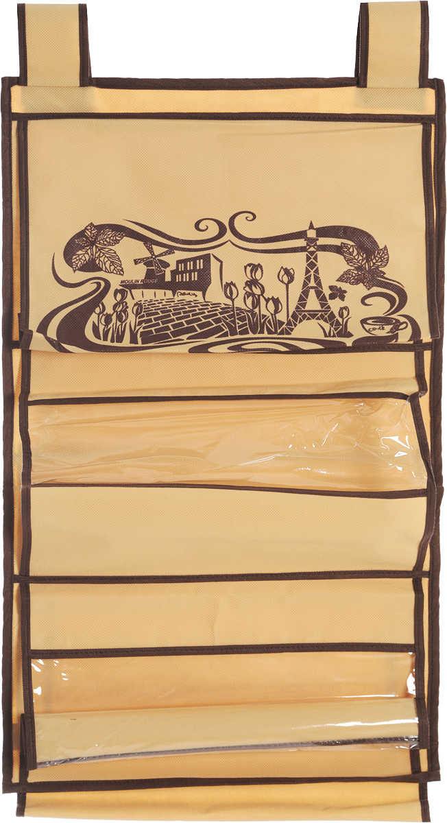 Кофр для сумок и аксессуаров Все на местах Париж, цвет: коричневый, бежевый, 8 секций, 40 х 70 см04710-D41Кофр для сумок и аксессуаров Все на местах Париж выполнен из спанбонда и ПВХ. Модель крепится на штангу в шкафу или вешалку-плечики. Выделено 8 секций для хранения сумок, клатчей, театральных сумок, кошельков, зонтов, перчаток, палантинов, шарфов, шалей и т.д. Кофр решает проблему компактного хранения сумок и экономит место в шкафу.Размеры: 40 х 70 см.
