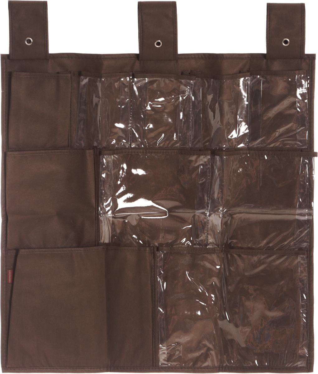 Органайзер для мелочей Все на местах Minimalistic, подвесной, цвет: коричневый, 10 карманов, 56 x 56 смS03301004Подвесной органайзер Все на местах Minimalistic, изготовленный из ПВХ и спанбонда, предназначен для хранения необходимых вещей, множества мелочей в гардеробной, ванной комнате. Изделие оснащено 10 пришитыми кармашками. Крепится органайзер на широкие лямки на липучках.Этот нужный предмет может стать одновременно и декоративным элементом комнаты. Яркий дизайн, как ничто иное, способен оживить интерьер вашего дома. Размер органайзера: 56 х 56 см.