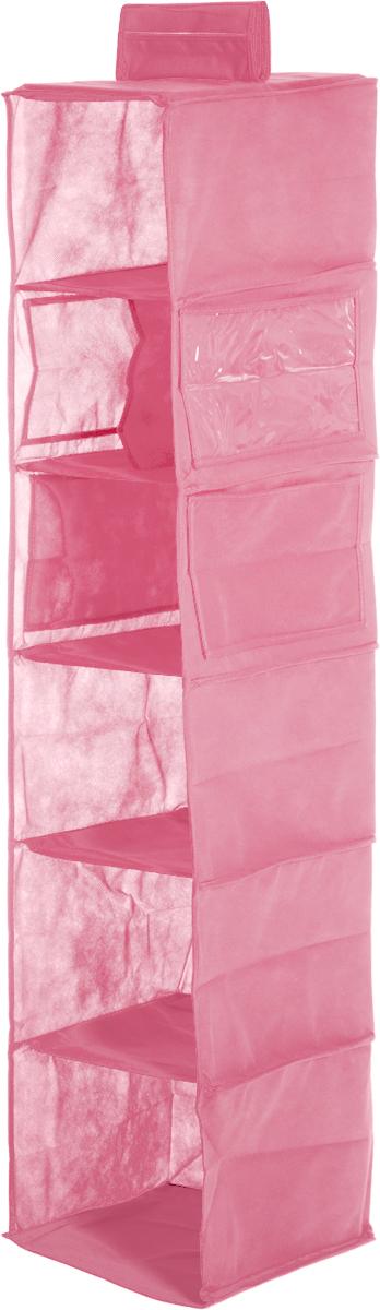 Полки подвесные Все на местах Minimalistic, цвет: розовый, 6 секций, 120 х 27 х 20 см10503Полки подвесные Все на местах Minimalistic изготовлены из сочетания спанбонда, ПВХ и пластика. У изделия 6 полок, из них 1 полка с перегородкой, имеется 4 боковых кармана, два из которых прозрачные. Полки укреплены пластиком и деревянными вставками. Крепится полка липучкой вокруг штанги.Размеры: 120 х 27 х 20 см.