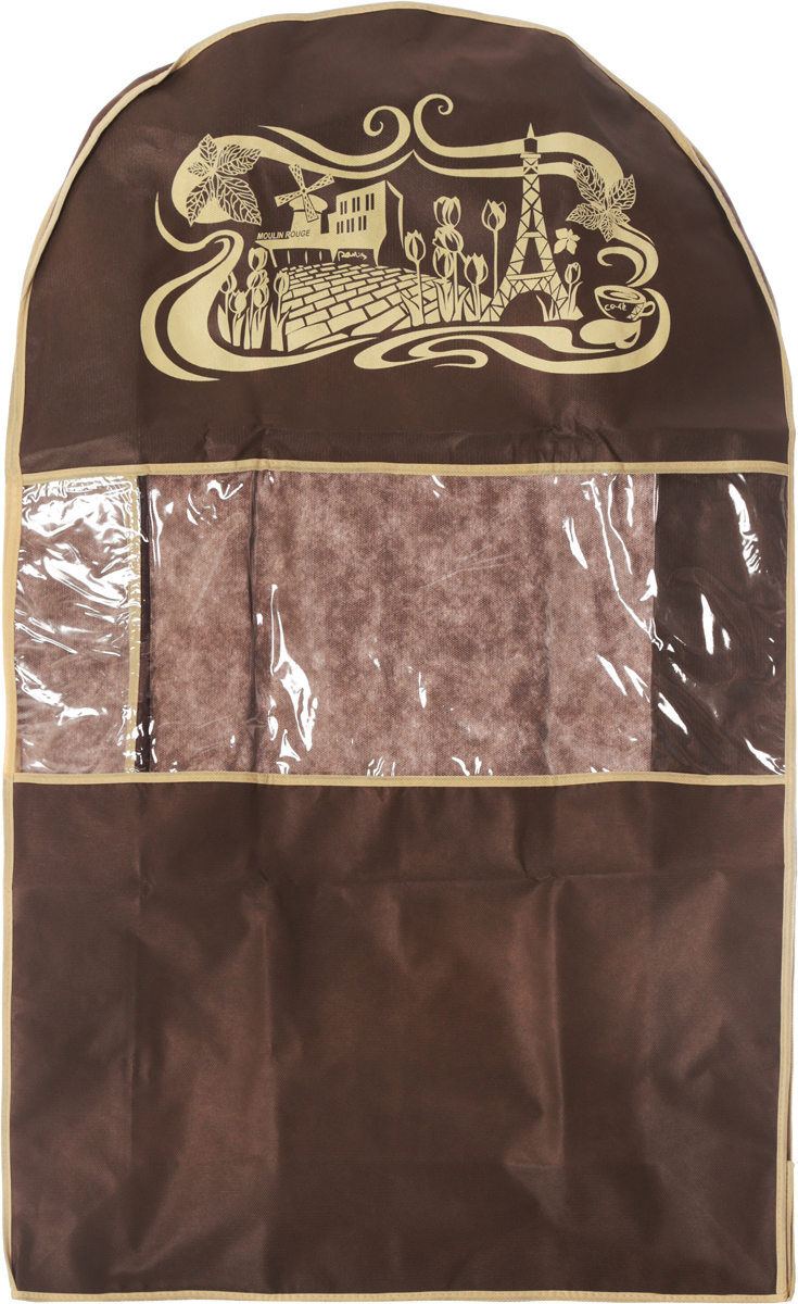 Чехол для одежды Все на местах Париж, двойной, цвет: темно-коричневый, бежевый, 100 х 60 х 20 см15319Чехол Все на местах Париж изготовлен из сочетания спанбонда и ПВХ и предназначен для хранения одежды. Нетканый материал чехла пропускает воздух, что позволяет изделиям дышать. С таким чехлом любая одежда надежно защищена от пыли, запаха и механического воздействия. Застегивается на застежку-молнию.Материал: спанбонд, ПВХ.