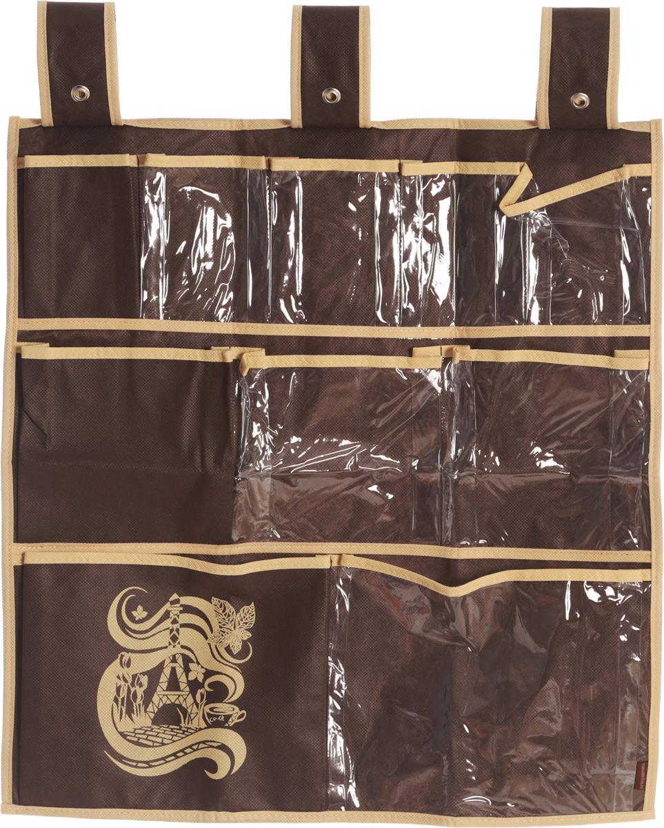 Органайзер для мелочей Все на местах Париж, подвесной, цвет: темно-коричневый, бежевый, 10 карманов, 56 x 56 см1004900000360Подвесной органайзер Все на местах Париж, изготовленный из ПВХ и спанбонда, предназначен для хранения необходимых вещей, множества мелочей в гардеробной, ванной комнате. Изделие оснащено 10 пришитыми кармашками. Крепится органайзер на широкие лямки на липучках.Этот нужный предмет может стать одновременно и декоративным элементом комнаты. Яркий дизайн, как ничто иное, способен оживить интерьер вашего дома. Размер органайзера: 56 х 56 см.
