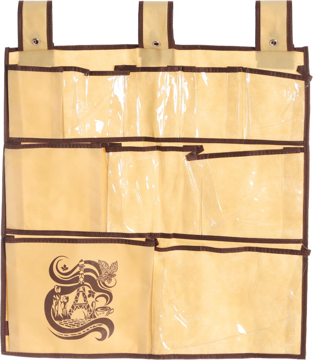 Органайзер для мелочей Все на местах Париж, подвесной, цвет: коричневый, бежевый, 10 карманов, 56 x 56 смPANTERA SPX-2RSПодвесной органайзер Все на местах Париж, изготовленный из ПВХ и спанбонда, предназначен для хранения необходимых вещей, множества мелочей в гардеробной, ванной комнате. Изделие оснащено 10 пришитыми кармашками. Крепится органайзер на широкие лямки на липучках.Этот нужный предмет может стать одновременно и декоративным элементом комнаты. Яркий дизайн, как ничто иное, способен оживить интерьер вашего дома. Размер органайзера: 56 х 56 см.