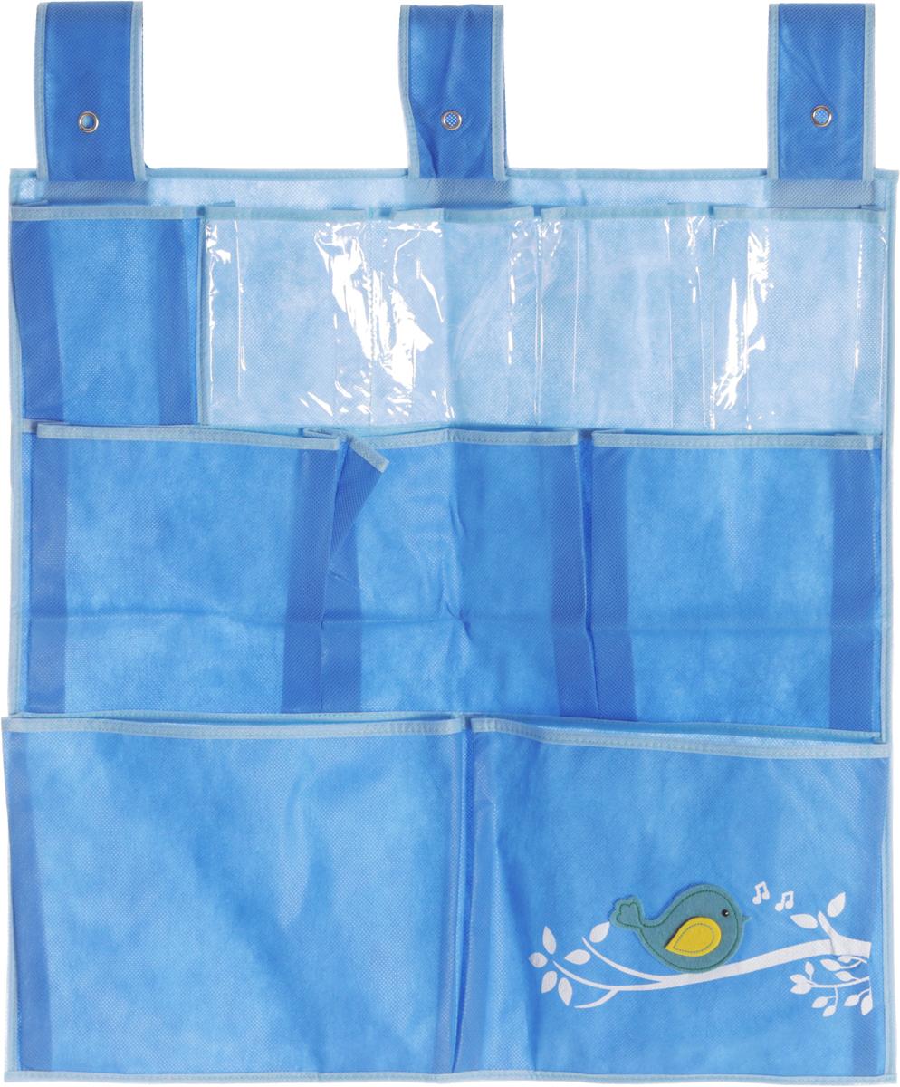 Кофр детский Все на местах Чик-Чирик, подвесной, цвет: голубой, 10 карманов, 57 x 57 смRG-D31SПодвесной квадратный кофр для хранения детских мелочей Все на местах Чик-Чирик изготовлен из высококачественного нетканого материала (спанбонда), ПВХ и фетра. Изделие позволяет сохранить естественную вентиляцию, а воздуху свободно проникать внутрь, не пропуская пыль.Кофр оснащен 10 достаточно крупными карманами, которые идеально подойдут для различных принадлежностей вашего ребенка.Мобильность конструкции обеспечивает складывание и раскладывание одним движением. Кофр удобно складывается в чехол. Оформлена модель оригинальными декоративными нашивками. Размер органайзера: 57 х 57 см.