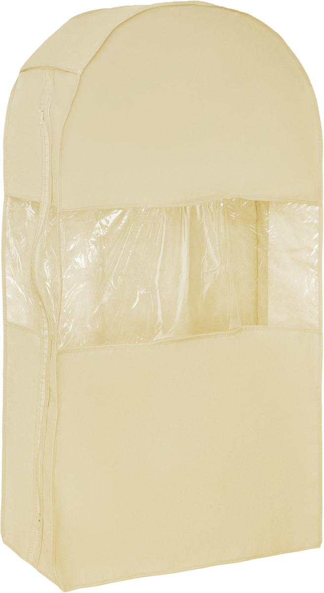 Чехол для шуб Все на местах Minimalistic. Lux, цвет: бежевый, 100 х 18 х 58 см1011033.Чехол Все на местах Minimalistic. Lux изготовлен из сочетания спанбонда и ПВХ. Изделие предназначено для хранения шуб. Нетканый материал чехла пропускает воздух, что позволяет изделиям дышать. Благодаря пластиковым вставкам, чехол идеально держит форму и его стенки не соприкасаются с мехом изделия и не приминают его. С таким чехлом шуба надежно защищена от моли, пыли и механического воздействия. Застегивается на застежку-молнию.Материал: спанбонд, ПВХ.Размеры: 100 см х 18 см х 58 см.