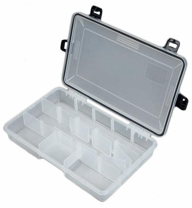 Коробка рыболовная Salmo Waterproof, водонепроницаемая, 28 х 18 х 5,2 см1501-05Рыболовная водонепроницаемая коробка Salmo Waterproof, выполненная из пластика, оснащена надежными замками, которые не пропускают внутрь влагу. Она снабжена съемными разделителями, что позволяет изменять количество отделений. Благодаря прозрачности материала, содержимое коробки удобно просматривать.