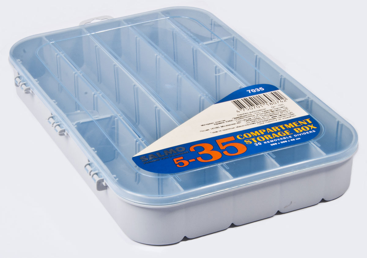 Коробка рыболовная Salmo Allround, универсальная, цвет: голубой, 30 x 20 x 4,7 смPGPS7797CIS08GBNVБольшая односторонняя коробочка с отсеками для хранения рыболовных мелочей. 30 съемных перегородок.