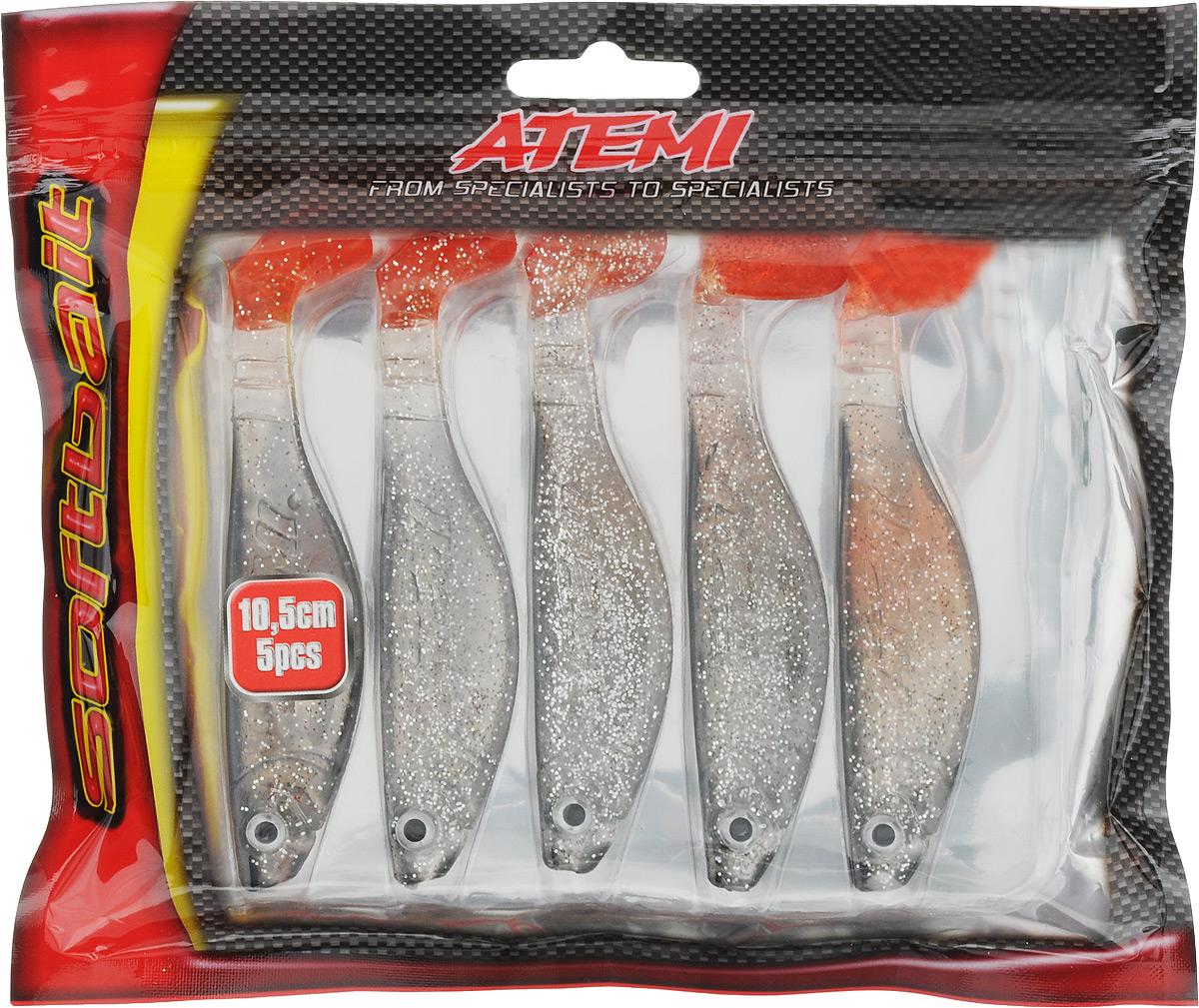 Риппер Atemi, цвет: pearltrout, длина 10,5 см, 5 шт95437-530Риппер Atemi - это виброхвост с объемным, мясистым телом, выполненный из высококачественного силикона. Имеет стабильную сбалансированную игру. Предназначен для джиговой ловли хищной рыбы: окуня, судака, щуки. Приманка визуально стимулирует хищный инстинкт поедателей рыб и толкает их совершать атаки.