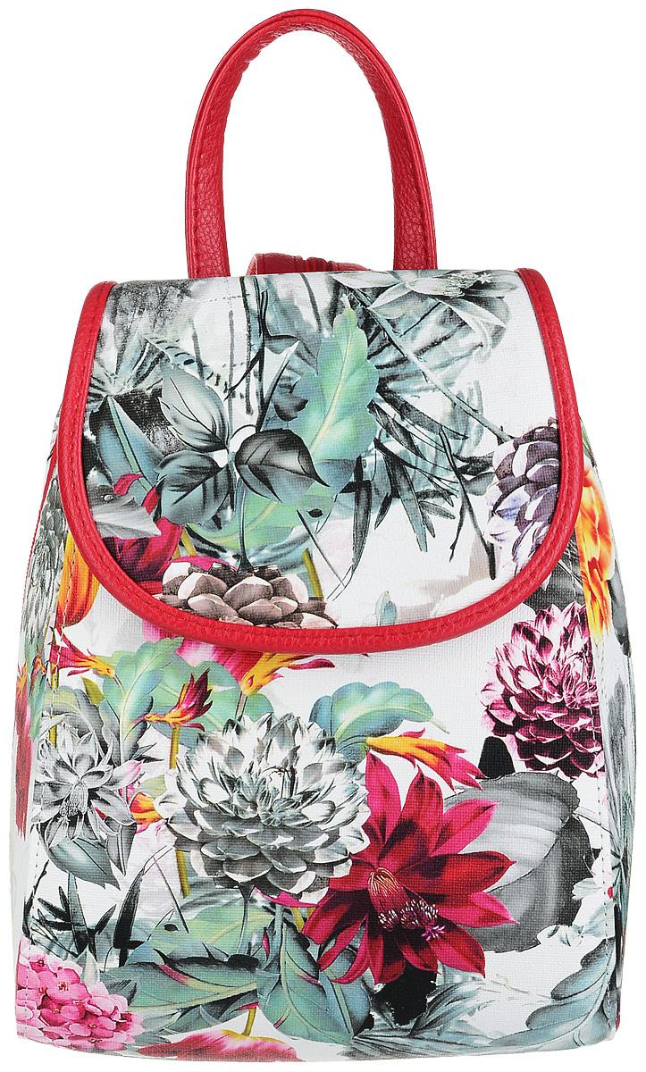 Рюкзак женский Медведково, цвет: белый, красный, мультиколор. 17с3387-к14L39845800Компактный, но крайне вместительный рюкзак от бренда Медведково с жестким каркасом исполнен из высококачественной экокожи и оформлен цветочным принтом. Рюкзак имеет одно отделение на застежке-молнии, прикрытое клапаном на магнитной кнопке. Внутри отделения находится один прорезной карман на застежке-молнии. Рюкзак имеет удобную ручку для переноски и два регулируемых плечевых ремня-лямки,которые, при желании, можно превратить в одну, благодаря застежке-молнии между ними.