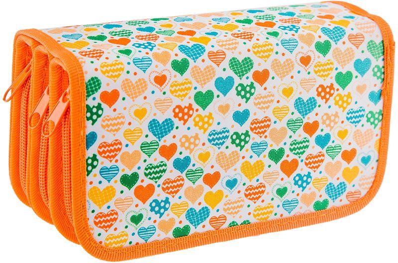 ArtSpace Пенал Сердца цвет оранжевыйПК12-20_ПО-411_10096Пеналы для школьных канцелярских принадлежностей. Имеют три отделения. Поставляются без наполнения. Размер 190 х 105 мм. Материал - ткань. Застежка-молния.