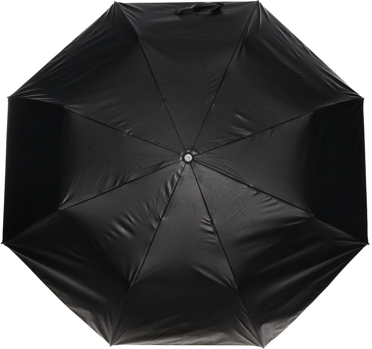 Зонт женский Vera Victoria Vito, механика, 3 сложения, цвет: черный, желтый. 20-700-4CX1516-50-10Зонт Vera Victoria Vito надежно защитит вас от дождя. Купол выполнен из высококачественного нейлона, который не пропускает воду. Внутренняя сторона купола оформлена оригинальным принтом. Каркас зонта и спицы выполнены из высококачественного металла.Удобная ручка выполнена из пластика и дополнена эластичной резинкой. Зонт имеет автоматический тип сложения: открывается и закрывается при нажатии на кнопку. В комплект входит чехол.