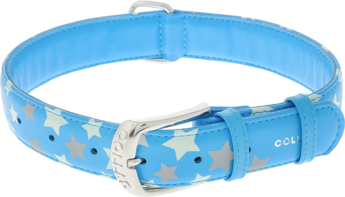 Ошейник для собак CoLLaR Glamour Звездочка, цвет: голубой, ширина 3,5 см, обхват шеи 46-60 смDM-160131-3Ошейник для собак CoLLaR Glamour Звездочка изготовлен из натуральной кожи и декорирован оригинальным рисунком. Специальная технология печати по коже позволяет наносить на ошейник устойчивый рисунок, обладающий одновременно светоотражающим и светонакопительным эффектом.Ошейник устойчив к влажности и перепадам температур. Сверхпрочные нити, крепкие металлические элементы делают ошейник надежным и долговечным.Обхват ошейника регулируется при помощи пряжки. Ошейник оснащен металлическим кольцом для крепления поводка. Изделие отличается высоким качеством, удобством и универсальностью. Минимальный обхват шеи: 46 см. Максимальный обхват шеи: 60 см. Ширина ошейника: 3,5 см.