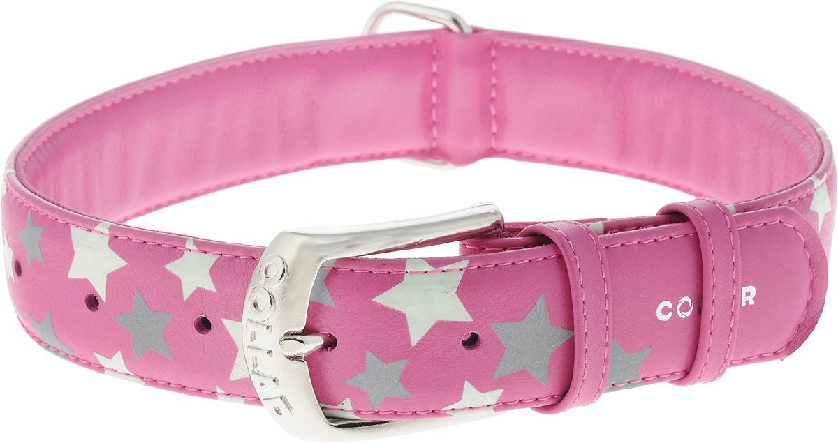Ошейник для собак CoLLaR Glamour Звездочка, цвет: розовый, ширина 3,5 см, обхват шеи 46-60 см0120710Ошейник для собак CoLLaR Glamour Звездочка изготовлен из натуральной кожи и декорирован оригинальным рисунком. Специальная технология печати по коже позволяет наносить на ошейник устойчивый рисунок, обладающий одновременно светоотражающим и светонакопительным эффектом.Ошейник устойчив к влажности и перепадам температур. Сверхпрочные нити, крепкие металлические элементы делают ошейник надежным и долговечным.Обхват ошейника регулируется при помощи пряжки. Ошейник оснащен металлическим кольцом для крепления поводка. Изделие отличается высоким качеством, удобством и универсальностью. Минимальный обхват шеи: 46 см. Максимальный обхват шеи: 60 см. Ширина ошейника: 3,5 см.