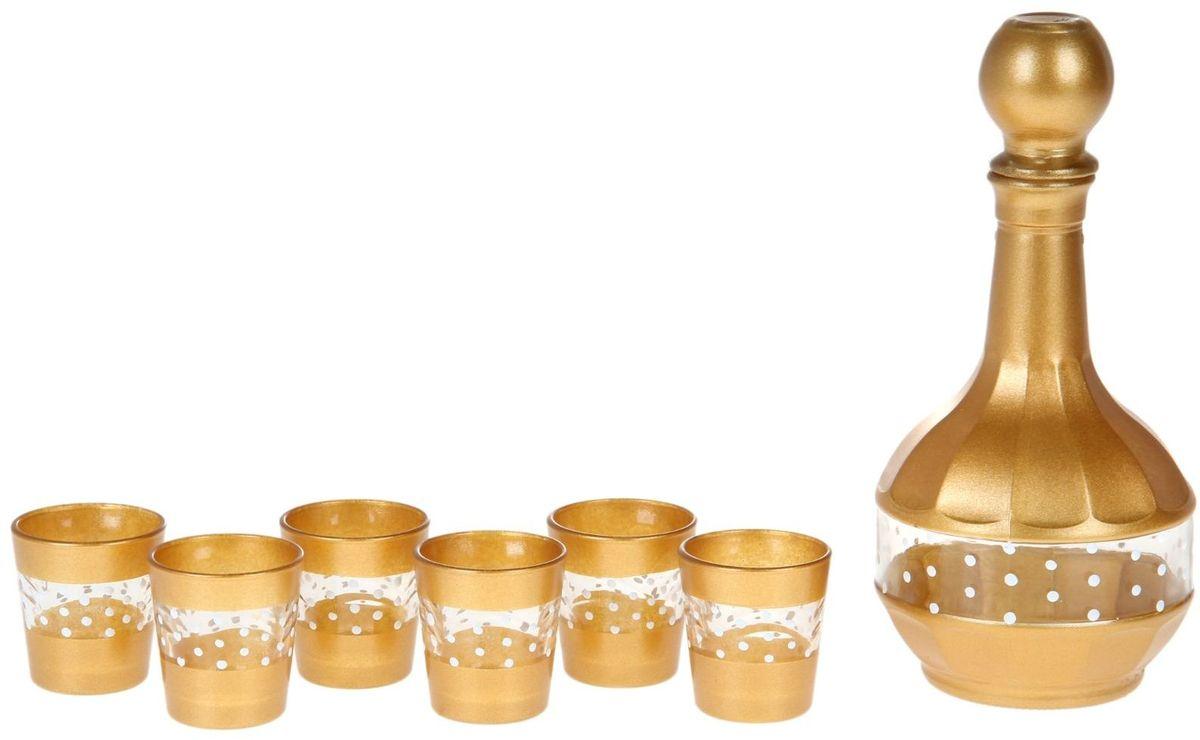 Набор Хрустальный звон: стопка Ода, 50 мл, 6 шт + графин, 500 мл. 1193686VT-1520(SR)Любое застолье требует тщательной подготовки. И речь идёт не только о блюдах — важную роль играет и посуда, которой будет сервирован праздничный стол.Питьевой набор «Бисер» — изящное решение для ценителей красоты. Посуда, изготовленная из хрусталя и стекла, подарит застолью торжественное настроение.В набор входят:графин 500 мл — 1 шт.,стопка 50 мл — 6 шт.Особый шик празднику придаст оформление посуды «под золото».Посуда набора отличается высокой термостойкостью и прочностью. Она легко поддаётся мойке.Если вы хотите, чтобы каждое застолье в вашем доме удавалось на славу, закажите питьевой набор «Бисер». Каждый гость отметит ваш выбор!