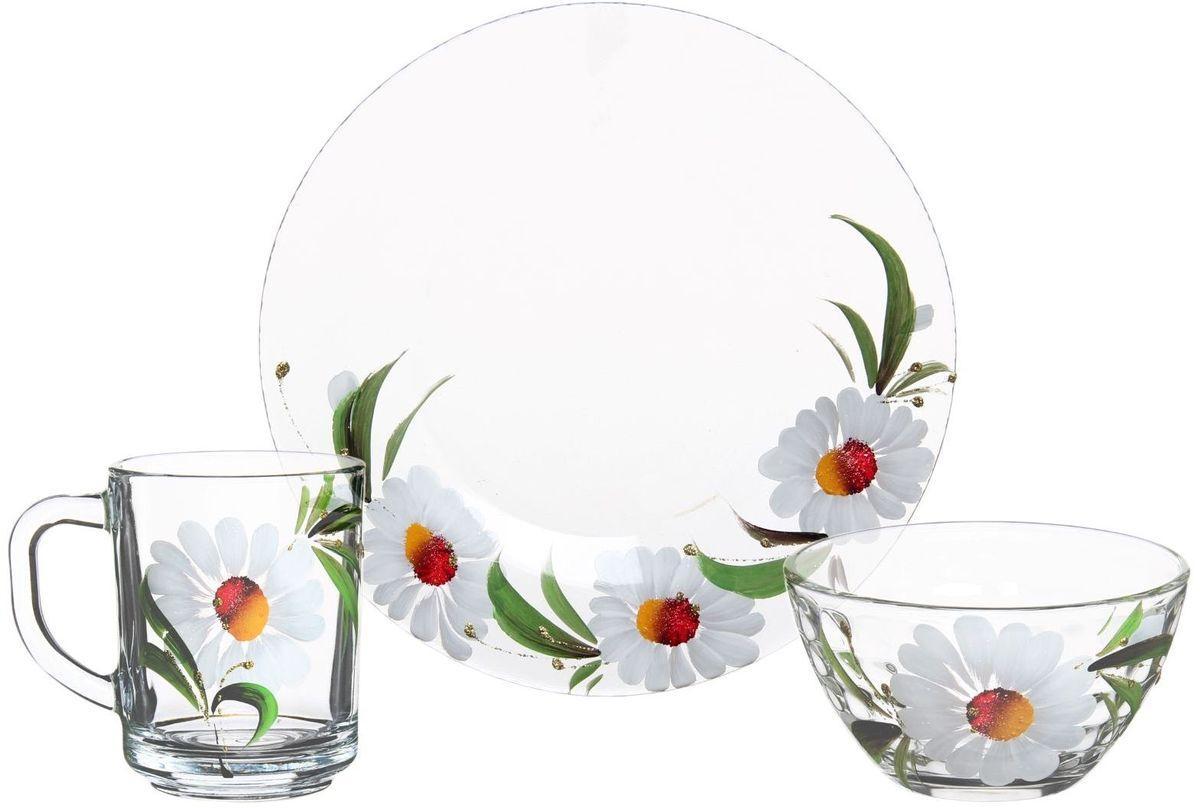 Набор для завтрака Хрустальный звон, 3 предмета. 11937271193727Набор для завтрака Хрустальный звон, состоящий кружки, салатника и тарелки, необходим для любой хозяйки, он сочетает в себе отличное качество и дизайн. Изделия выполнены из высококачественного бесцветного стекла и украшены художественной росписью.Такой набор украсит любой кухонный интерьер и станет хорошим подарком для ваших близких.Объем кружки: 250 мл. Объем салатника: 250 мл. Диаметр тарелки: 20 см.