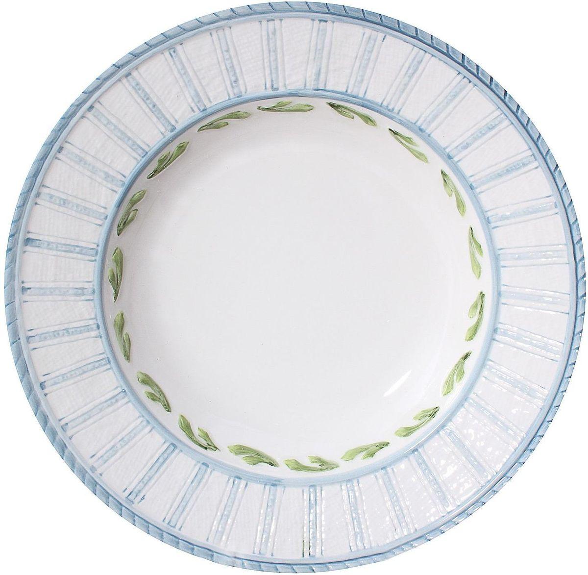 Тарелка суповая Lamart Морская жизнь, диаметр 25 см54 009312Любите качественные, а вместе с этим стильные и запоминающиеся вещи? Тогда вы наверняка оцените замечательную тарелку серии Морская жизнь известной итальянской марки Lamart. Светлая бело-голубая, глубокая, но словно совсем невесомая тарелка с нежно-зеленым орнаментом станет замечательным украшением стола, добавит ему радостного и солнечного настроения: не правда ли, кажется, что она буквально пропитана свежим морским бризом и средиземноморским солнцем? Такие тарелки будут прекрасным подарком хозяйке дома, знающей толк в изысканных и элегантных вещах.