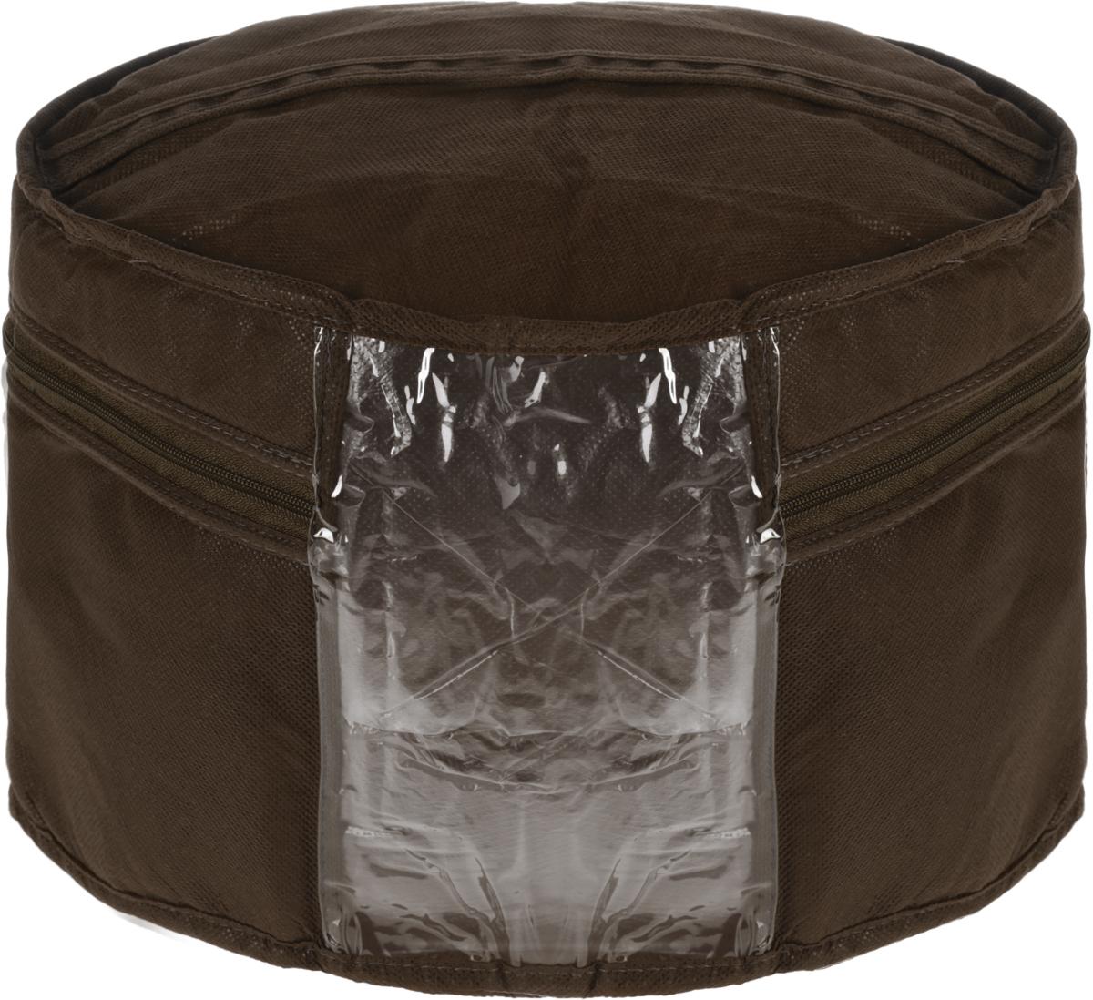 Кофр для головных уборов Все на местах Minimalistic, цвет: темно-коричневый, 35 х 20 см1012049.Кофр для головных уборов Все на местах Minimalistic изготовлен из сочетания спанбонда и ПВХ. Дышащая ткань позволяет вещам проветриваться, но препятствует проникновению пыли и насекомых. В стенках уплотнитель, что позволяет кофру держать форму. Прозрачная вставка из ПВХ позволяет видеть, чтовнутри. Модель снабжена удобной ручкой и надежной молнией.Размеры: 35 х 20 см.