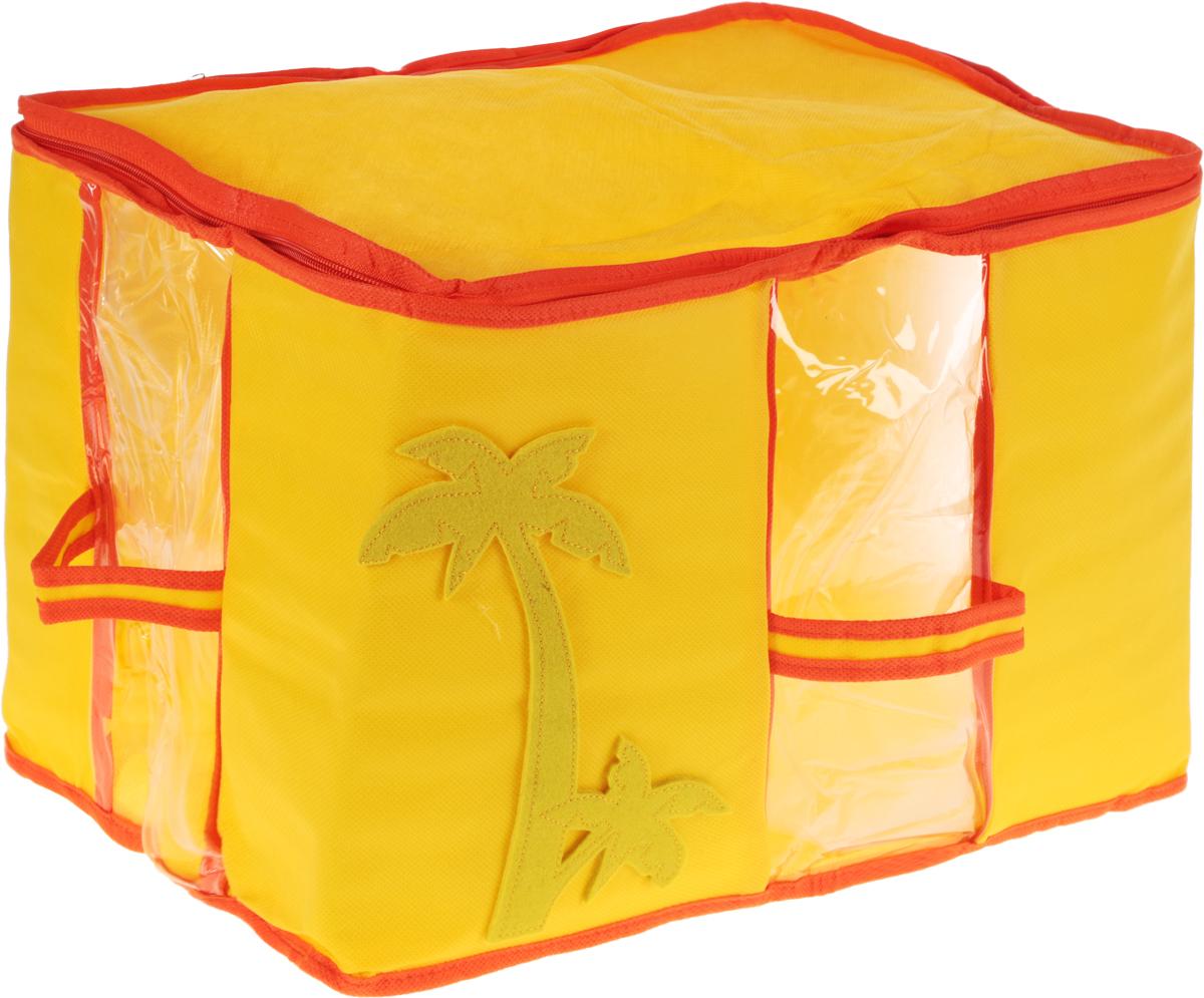 Кофр для хранения вещей детский Все на местах Sunny Jungle, цвет: желтый, оранжевый, 30 x 45 x 30 смБрелок для ключейПрямоугольный детский кофр Все на местах Sunny Jungle, изготовленный из высококачественного прочного нетканого материала (спанбонда) и ПВХ, предназначен для долговременного хранения вещей. Кофр оснащен крышкой, тем самым обеспечивая надежное хранение одежды, игрушек и других вещей. Кофр защитит их от повреждений, пыли, влаги и загрязнений во время хранения и транспортировки. Он пропускает воздух и отталкивает воду.Органайзер удобно складывается в чехол и оснащен удобными мягкими ручками, с четырех сторон.