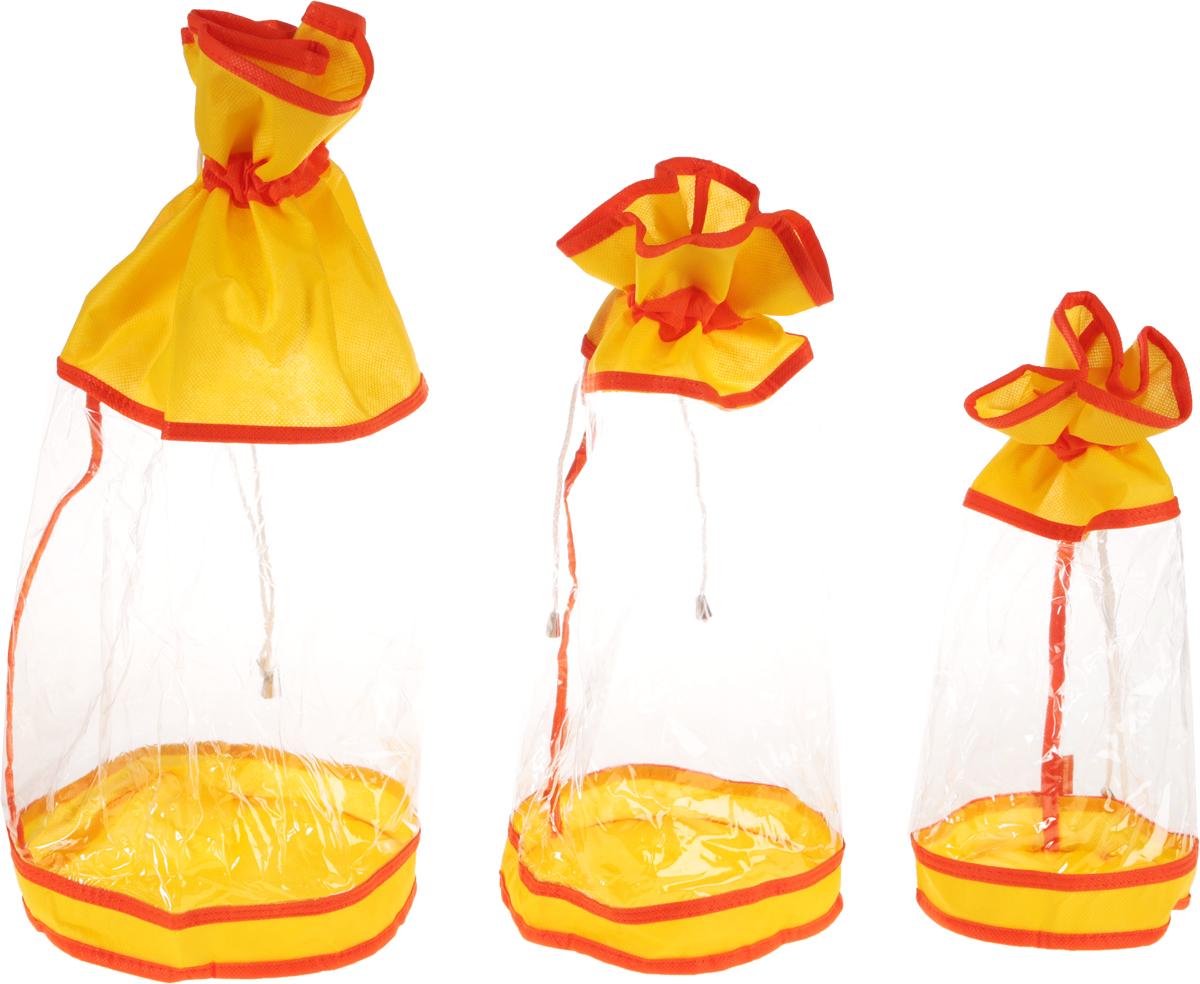 Набор мешочков Все на местах Sunny Jungle, детский, цвет: желтый, оранжевый, 3 шт1014056.Набор мешочков Все на местах Sunny Jungle выполнен из прочного ПВХ и дышащего материала, состоит из трех мешочков разных размеров: 60 см х 25 см, 50 см х 20 см, 40 см х 15 см. Мешочки затягиваются шнурком с фиксатором.Мелкие детские предметы хранить теперь просто.