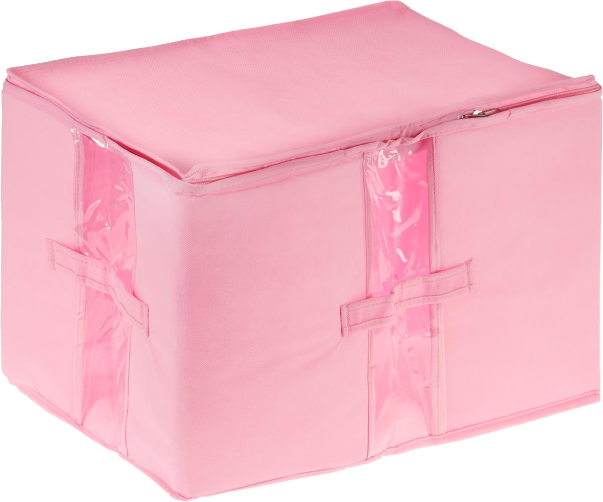 Кофр для вещей Все на местах Minimalistic, цвет: розовый, 30 х 45 х 30 смБрелок для ключейКофр для вещей Все на местах Minimalistic изготовлен из сочетания спанбонда и ПВХ. Дышащая ткань позволяет вещам проветриваться, но препятствует проникновению пыли и насекомых С четырех сторон изделие снабжено прозрачными окошками, по бокам расположены ручки, в стенках - уплотнитель, который позволяет держать форму кофра. Уплотнитель не жесткий, что позволяет более компактно размещать несколько кофров на полке.Застегивается на застежку-молнию.Размеры: 30 х 45 х 30 см.