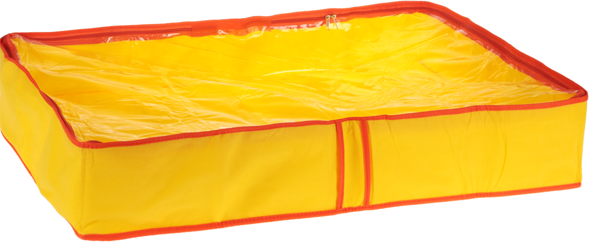 Кофр для одеял Все на местах Sunny Jungle, цвет: желтый, оранжевый, 60 х 45 х 15 см1014014.Кофр для одеял Все на местах Sunny Jungle изготовлен из сочетания спанбонда и ПВХ. Дышащая ткань позволяет вещам проветриваться, но препятствует проникновению пыли и насекомых. Крышка кофра прозрачная и позволяет видеть, что в нем хранится, не открывая ее. Удобные ручки по бокам кофра позволяют легко достать его из самых труднодоступных мест - с антресолей или из под кровати. В стенки чехла вставлен уплотнитель, что позволяет ему держать форму. Размеры: 60 х 45 х 15 см.