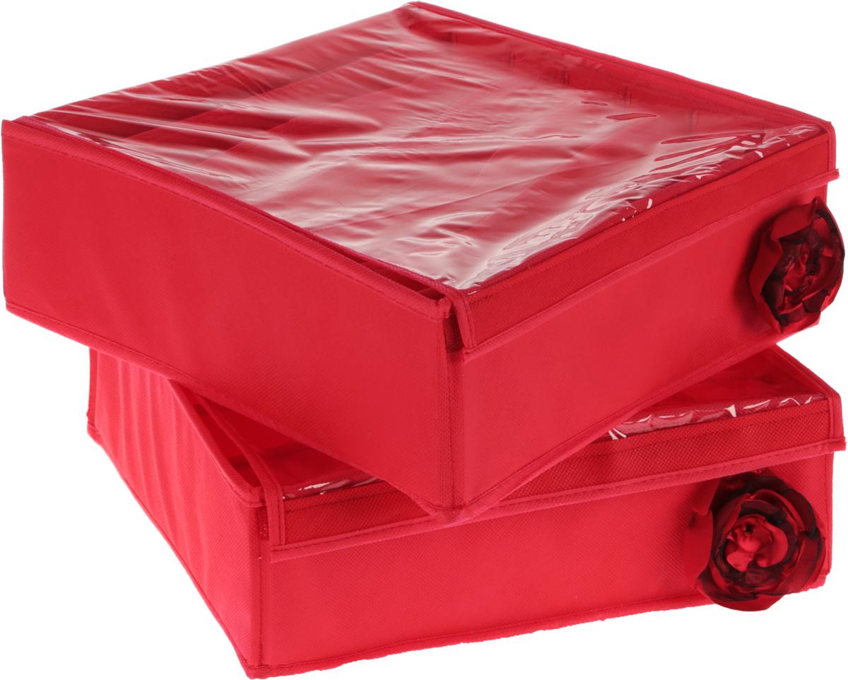Набор органайзеров для женского белья Все на местах Кармен, цвет: красный, 32 х 32 х 12 см, 2 штRG-D31SНабор состоит из двух органайзеров для хранения косметики и аксессуаров, а также белья.Изделия выполнены из высококачественного нетканого материала (спанбонда), которыйобеспечивает естественную вентиляцию, позволяя воздуху проникать внутрь, но не пропускаетпыль. Вставки из ПВХ хорошо держат форму.Набор органайзеров поможет привести элементы женского туалета или белья в порядок. Оригинальный дизайн придется по вкусу ценительницам эстетичного хранения. Размер органайзеров: 32 см х 32 см х 11 см.