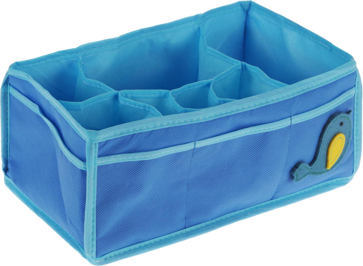 Органайзер для мелочей детский Все на местах Чик-Чирик, настольный, цвет: голубой, 7 ячеек, 30 x 16 x 13 см74-0060Органайзер для мелочей Все на местах Чик-Чирик выполнен из качественного сочетания спанбонда, фетра и ПВХ. Благодаря специальным вставкам из картона, изделие прекрасно держит форму.Удобный и компактный органайзер имеет 7 внутренних ячеек и 8 внешних накладных карманов. Модель с легкостью вместит все необходимые баночки и тюбики. Большое основное отделение можно использовать для кремов, парфюмерии и лаков. Наличие кармашков делает возможным хранение декоративной косметики и аксессуаров.