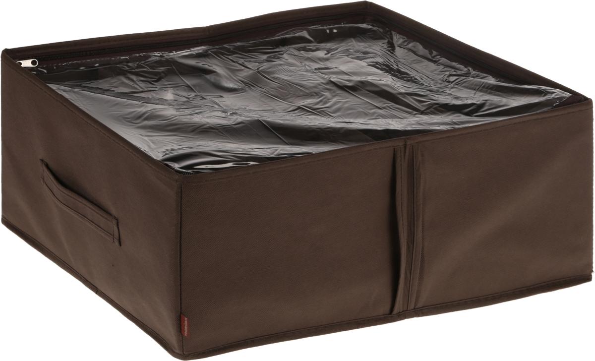 Кофр для обуви Все на местах Minimalistic, цвет: коричневый, 4 секции, 34 x 48 x 20 см1015017.Компактный складной органайзер из высококачественного нетканого материала с прозрачной крышкой из ПВХ. Материал позволяет воздуху свободно проникать внутрь, но не пропускает пыль. Органайзер отлично держит форму, благодаря прочным вставкам. Изделие имеет 4 секции для хранения обуви.Такой органайзер позволит вам хранить обувь компактно и удобно. Размер секции: 17 х 24 см.