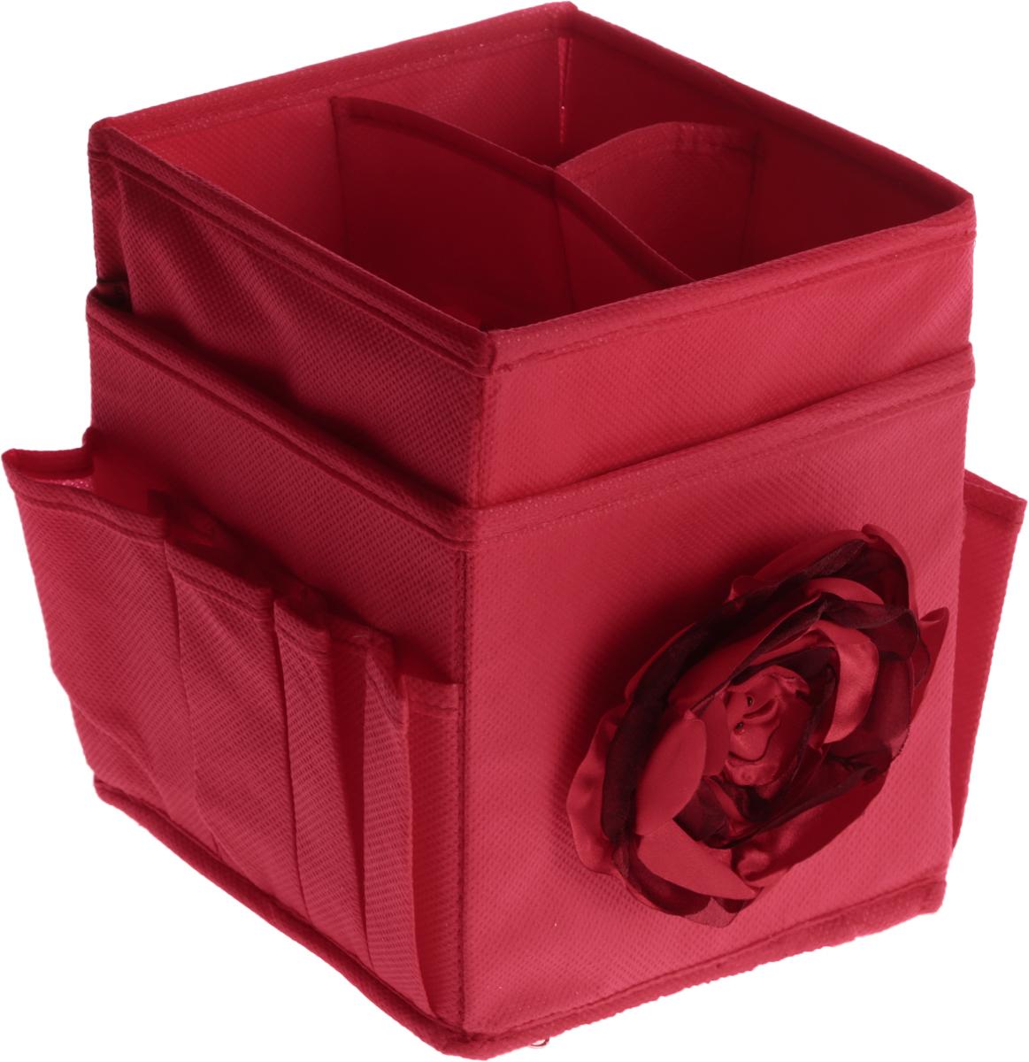 Набор органайзеров для косметики Все на местах Классика, цвет: фуксия, 2 шт04760-099-00Набор состоит из двух органайзеров для хранения косметики и аксессуаров.Изделия выполнены из высококачественного нетканого материала (спанбонда),который обеспечивает естественную вентиляцию. Плотные вставки хорошо держат форму. Мягкие перегородки образуют секции для хранения разнообразной косметики. Наружные кармашки позволяютудобно хранить мелкие аксессуары. Изделия отличаются мобильностью: легко раскладываются искладываются благодаря молнии в основании.Набор органайзеров для косметики и аксессуаров поможет привести элементыженского туалета в порядок. Оригинальный дизайн придется по вкусу ценительницам эстетичного хранения.Размер органайзеров: 1-й органайзер - 15 х 15 х 12 см - 4 ячейки и 8 кармашков.2-й органайзер - 15 х 15 х 7 см - 3 ячейки.