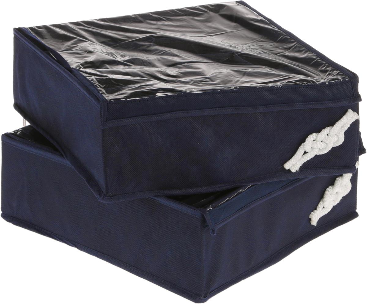 Набор органайзеров для мужского белья Все на местах Ночной бриз, цвет: темно-синий, 32 х 32 х 11 см, 2 штБрелок для ключейНабор состоит из двух органайзеров для хранения белья.Изделия выполнены из высококачественного нетканого материала (спанбонда), которыйобеспечивает естественную вентиляцию, позволяя воздуху проникать внутрь, но не пропускаетпыль.Один органайзер служит для хранения 20 пар носков. Второй органайзер предназначен для хранения трусов или трикотажных водолазок и футболок. Внешние стенки органайзеров укреплены пластиком и отлично держат форму. Органайзеры декорированы морскими узлами ручной работы из белого шнура. В дно каждого органайзера вшита молния, их удобно складывать. Размеры: органайзер №1 - 32 х 32 х 11см,содержит 12 продольных ячеек 12 х 5,3 см; органайзер №2 - 32 х 32 х 11 см,содержит 16 квадратных ячеек размером 8 х 8 см.