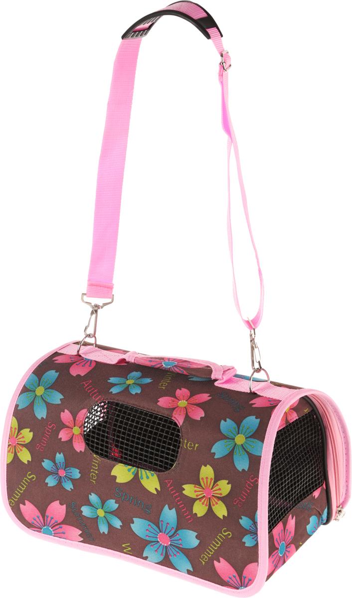 Сумка-переноска для животных Каскад. Цветы, складная, цвет: коричневый, розовый, 36 х 22 х 22 см сумка переноска каскад collection с белыми буквами цвет черный 38х17 см