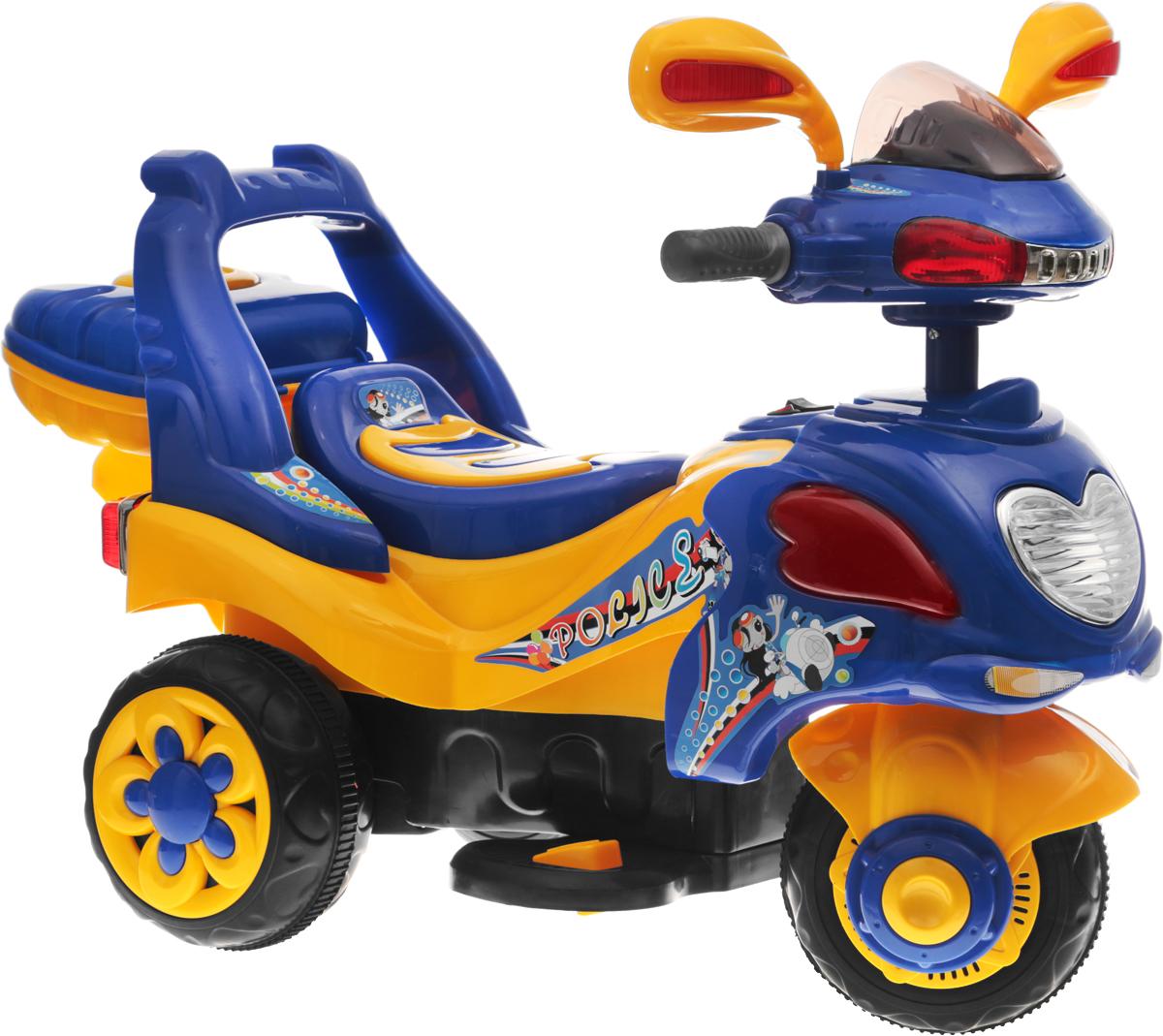 G120 Мотоцикл детский на аккумуляторе с багажником цвет синий - Электромобили