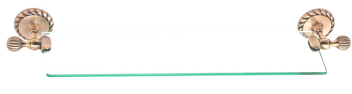Полка для ванной Del Mare 11800, цвет: античная бронза, 60 смES-412Стеклянная полка Del Mare 11800 произведена из безопасного, прочного и стойкого к коррозии металлического сплава, с многослойным никель-хромовым покрытием, стойким к истиранию. Внутренние элементы крепления после монтажа остаются скрытыми, сохраняя аккуратный и эстетичный вид изделия. Стеклянная полка - это удобная настенная подставка для хранения различной косметики, средств для умывания, мыльниц и других аксессуаров, что позволит организовать порядок в ванной комнате.