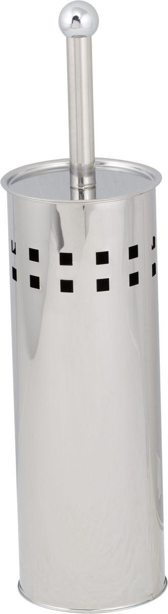 Ершик для унитаза Del Mare, с подставкой, цвет: хром. P80312723Туалетный ершик Del Mare в красивой подставке отлично впишется в интерьер любой ванной комнаты. Все изделие выполнено в цилиндрической форме, устойчиво и не скользит по поверхности. Качественная нержавеющая сталь надежно защищена от коррозии и различных механических повреждений. Ручка оснащена плотно прилегающей к корпусу крышкой и очень практична в использовании. Подставку можно мыть обычной мокрой тряпкой.