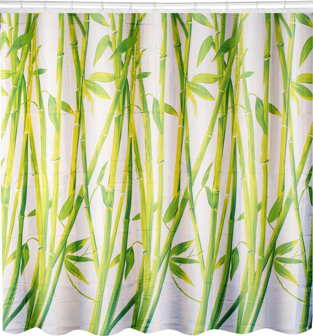 Штора для ванной Swensa Бамбук, цвет: зеленый, 180 х 180 смSWC-70-22Штора для ванной Swensa Бамбук выполнена из высококачественного полиэстера с водоотталкивающим и антигрибковым покрытием. В комплекте прилагаются пластиковые кольца. Такая штора прекрасно впишется в любой интерьер ванной комнаты и идеально защитит от брызг.