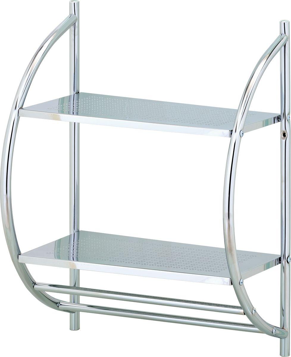 Стеллаж настенный для ванной Swensa, 2 яруса, цвет: хром, 40 х 54 см12723Стеллаж настенный для ванной Swensa с 2-мя полками идеально подойдет для ванной комнаты для хранения гигиенических принадлежностей и полотенец.