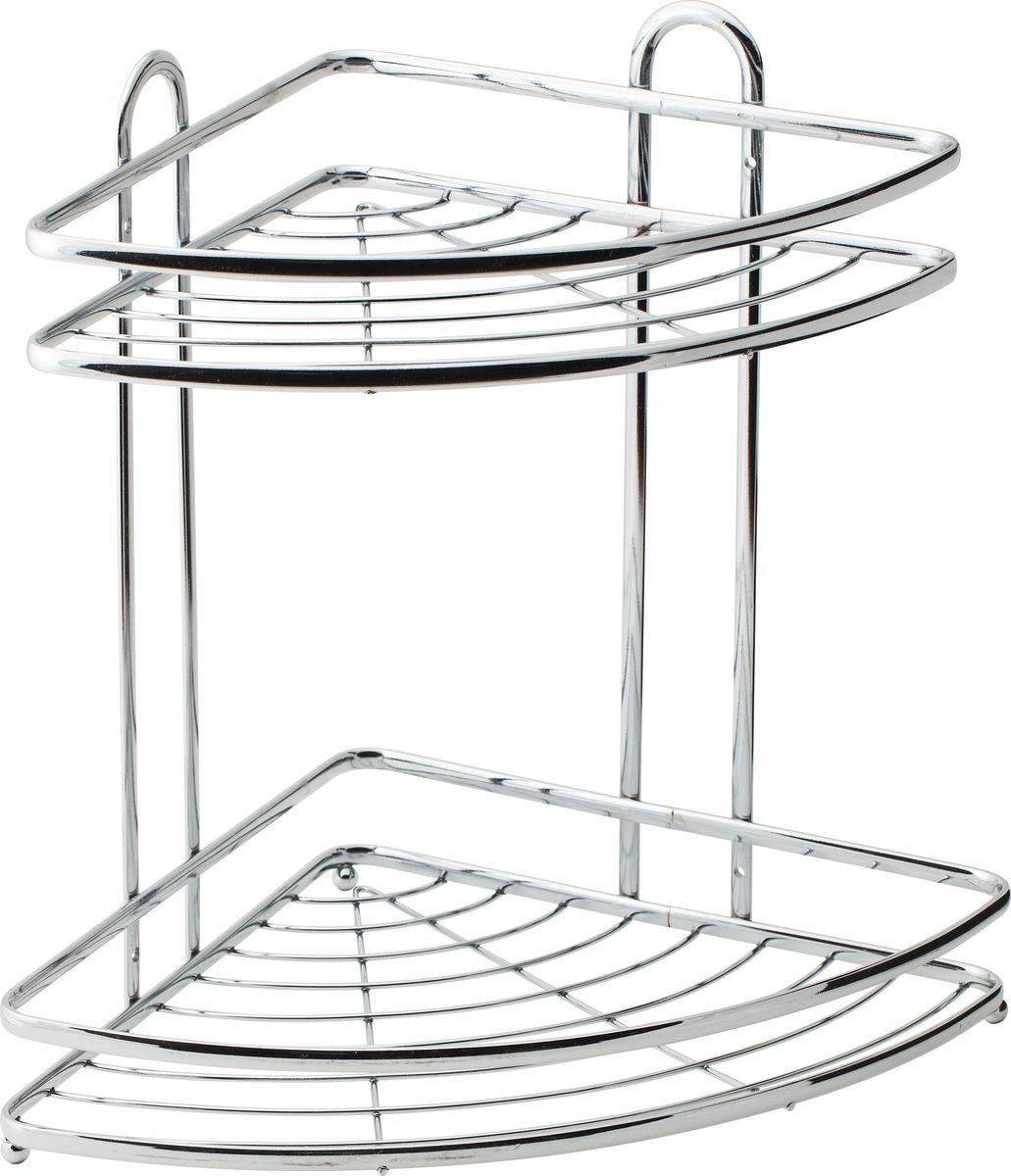 Полка для ванной Swensa, 2-ярусная, угловая, цвет: хром, 21 х 21 х 34 см98299571Угловая подвесная полка для ванной Swensa, выполненная из стали и покрытая хромо-никелиевым напылением, является прекрасным решением для организации пространства в ванной комнате. Полка подвешивается с помощью саморезов, которые входят в комплект. Изделие состоит из 2-х полок, которые предназначены для хранения ваших средств гигиены и ухода.Благодаря оптимальным размерам, полка впишется в интерьер вашего дома, а также позволит удобно и практично хранить предметы домашнего обихода.