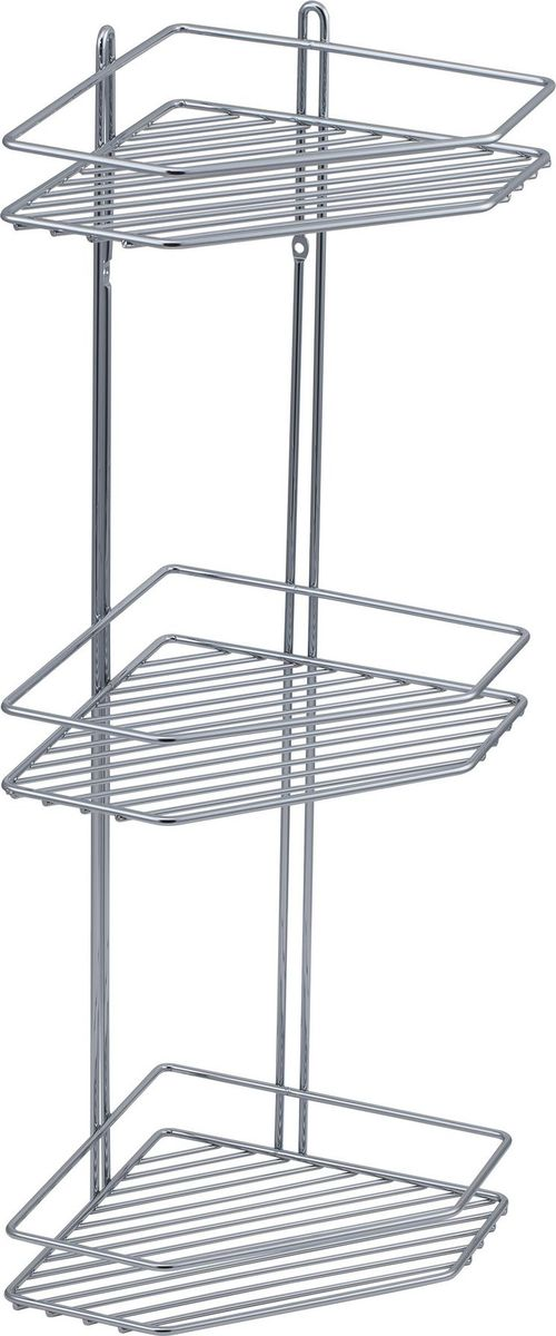 Полка для ванной Swensa, 3-ярусная, угловая, цвет: хром391602Угловая подвесная полка для ванной Swensa, выполненная из стали и покрытая хромо-никелиевым напылением, является прекрасным решением для организации пространства в ванной комнате. Полка подвешивается с помощью саморезов, которые входят в комплект. Изделие состоит из 3-х полок, которые предназначены для хранения ваших средств гигиены и ухода.Благодаря оптимальным размерам, полка впишется в интерьер вашего дома, а также позволит удобно и практично хранить предметы домашнего обихода.
