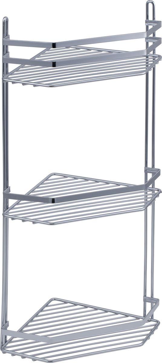 Полка для ванной Swensa Премиум, 3-ярусная с высоким бортом, угловая, цвет: хром531-105Подвесная трёхъярусная полка для ванной Swensa Премиум выполненная из стали и покрытая специальным хромо-никелиевым покрытием, сэкономит место в ванной комнате. Полка подвешивается с помощью 2-х саморезов (входят в комплект). Она пригодится для хранения различных принадлежностей, которые всегда будут под рукой.Благодаря компактным размерам полка впишется в интерьер вашего дома и позволит вам удобно и практично хранить предметы домашнего обихода.
