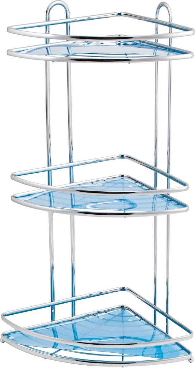 Полка для ванной Swensa Премиум, 3-ярусная, угловая, цвет: хромSWR-063Трёхъярусная угловая полка для ванной Swensa Премиум, выполненная из хромированной стали c хромо-никелиевым покрытием, прекрасно подойдет для ванной комнаты. Удобная и вместительная, полка имеет возможность настенной установки. Благодаря оптимальному расстоянию между полками (25 см), очень удобна для хранения и использования шампуней, гелей и кремов. Съемные вкладыши голубого цвета позволяют размещать на полке мелкие предметы. Полка крепится к стене при помощи двух саморезов, которые входят в комплект.Благодаря компактным размерам полка не займет много места и позволит вам удобно и практично хранить предметы домашнего обихода. Надежная конструкция, высококачественные материалы обеспечивают долговременное её использование в помещениях с высокой влажностью.