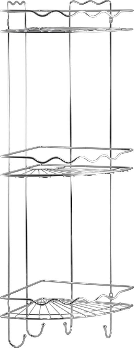 Полка для ванной Swensa, 3-ярусная с крючками, угловая, цвет: хром68/5/4Подвесная трёхъярусная полка для ванной Swensa, выполненная из стали и покрытая специальным хромо-никелиевым покрытием, сэкономит место в ванной комнате. Полка подвешивается с помощью 2-х саморезов (входят в комплект). Она пригодится для хранения различных принадлежностей, которые всегда будут под рукой.Благодаря свои размерам полка впишется в интерьер вашего дома и позволит вам удобно и практично хранить предметы домашнего обихода. Оптимальное расстояние между ярусами полки позволяют хранить средства объемом 1 литр. Специальные крючки на нижнем ярус полки позволяют повесить различные предметы, тем самым избегая дополнительных крючков в ванной комнате.