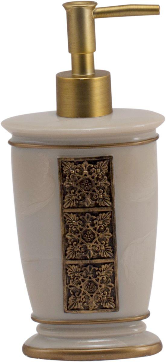 Дозатор для жидкого мыла Swensa Синтра, цвет: слоновая кость, 250 мл68/5/1Дозатор для жидкого мыла Swensa Синтра выполнен из высокотехнологичного материала полирезин. Благодаря такому решению, изделие отличается высокой прочностью, не бьется, не царапается и не деформируется при падении. Полирезин не выделяет токсинов и неприятных запахов, хорошо переносит эксплуатацию во влажной среде. Дозатор декорирован под мрамор и дополнен узором в античном стиле. Поршень, окрашенный в цвет бронзы, обеспечивает плавную подачу оптимальной порции моющего средства, тем самым лимитируя его расход.