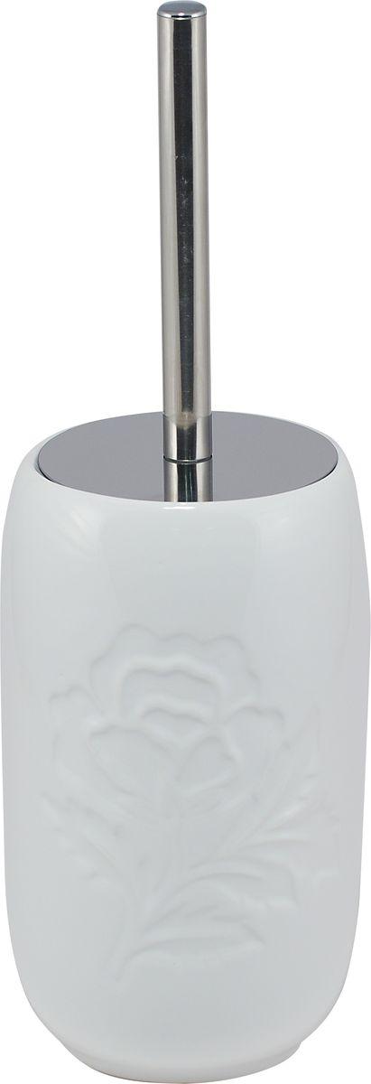 Ершик для унитаза Swensa Пион, с подставкой, цвет: белыйSWTK-2200EТуалетный ерш Swensa Пион — важная деталь ванной комнаты. Щетка из плотных щетинок оснащена длинной металлической ручкой. Практичная подставка-емкость для туалетного ерша, изготовленная из керамики, отличается выразительным дизайном. Она декорирована рельефным флористическим узором, эффектно выделяющимся на гладкой керамической поверхности.