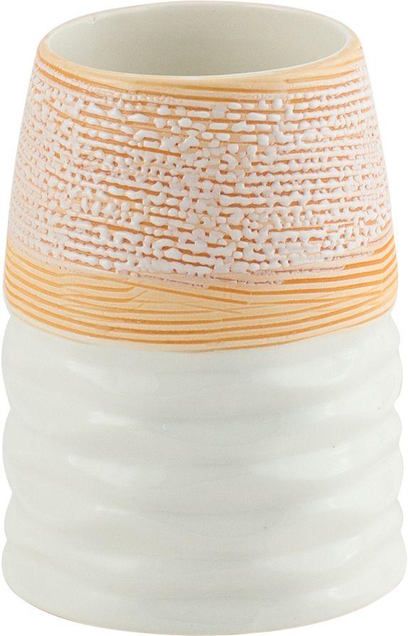 Стакан для ванной Swensa Аттика, цвет: бежевыйSWTK-2600CСтакан для ванной Swensa Аттика — удобный и стильный аксессуар для ванной комнаты, в котором удобно хранить зубные щетки. Стакан обладает фактурной поверхностью, благодаря этому его удобно держать в руках. Изделие изготовлено из керамики - экологичного и долговечного материала.