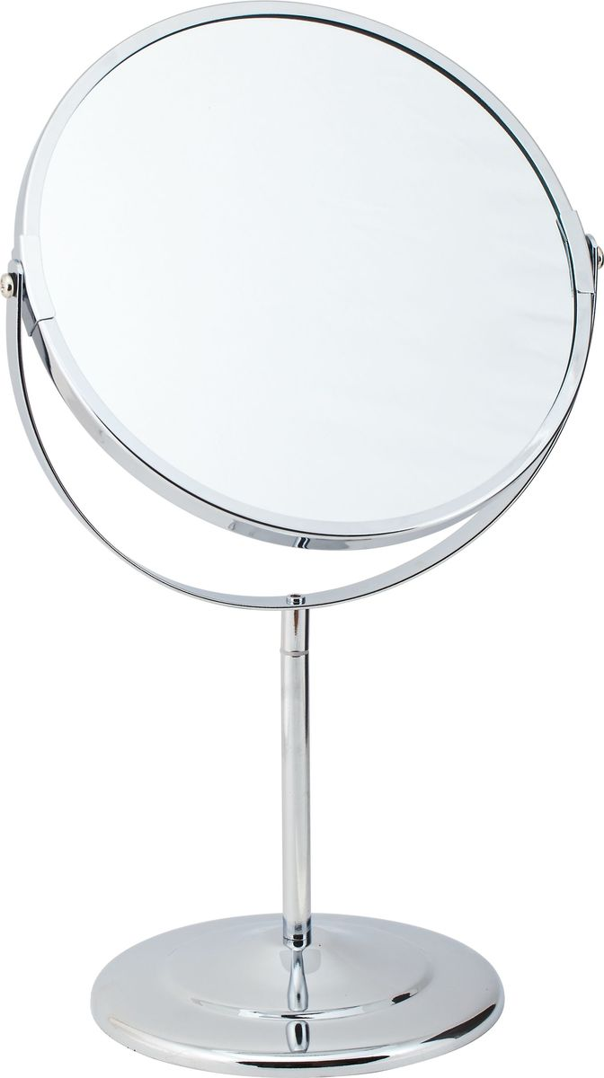"""Зеркало косметическое """"Del Mare"""", настольное, цвет: хром, диаметр 20 см"""