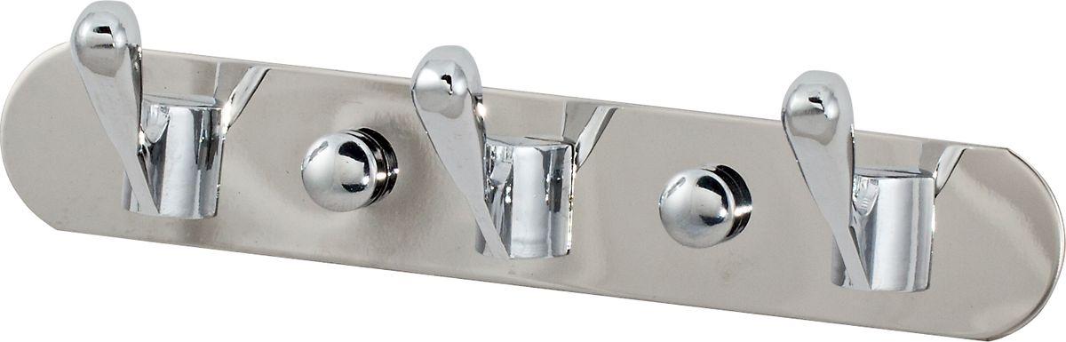 Крючки на планке Del Mare, 3 крючка, цвет: хром, 16,5 см531-105Крючки двойные на планке Del Mare - красивый и практичный аксессуар, который можно закрепить в любом месте ванной комнаты и использовать для подвешивания полотенец, халатов, одежды. Благодаря надежной конструкции и прочностью покрытия, крючки прослужат вам долгое время.