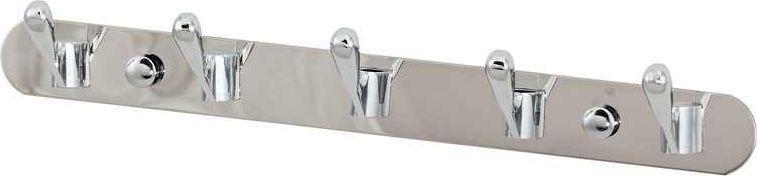 Крючки на планке Del Mare, 5 крючков, цвет: хром, 29 см531-401Крючки двойные на планке Del Mare - красивый и практичный аксессуар, который можно закрепить в любом месте ванной комнаты и использовать для подвешивания полотенец, халатов, одежды. Благодаря надежной конструкции и прочностью покрытия, крючки прослужат вам долгое время.
