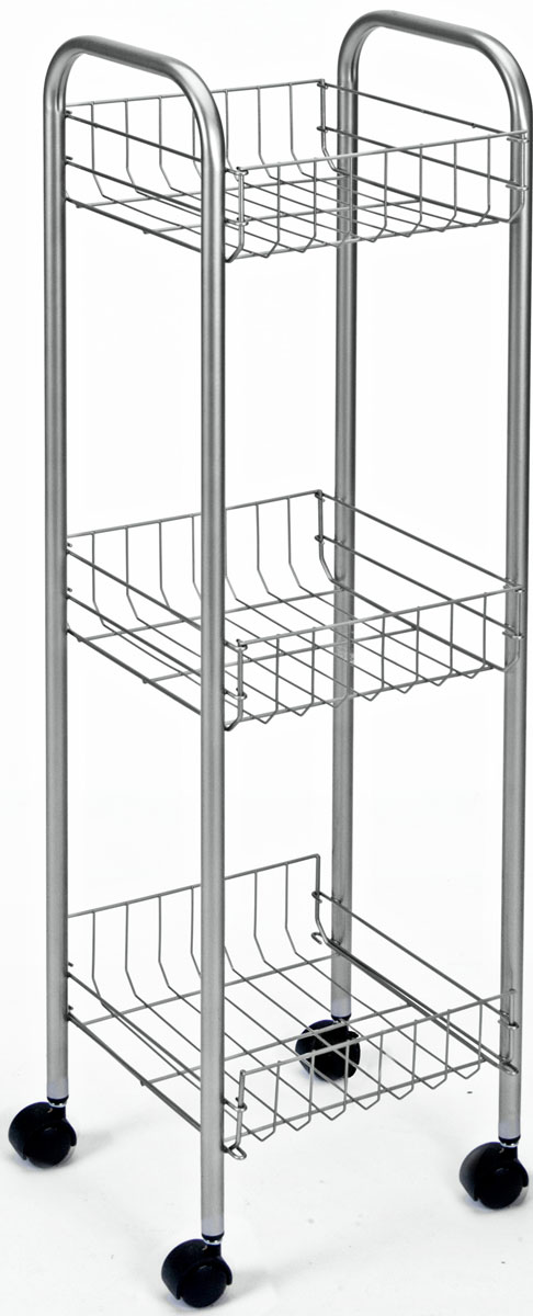 Этажерка 3-х уровневая Toronto, 23 x 23 x 83 см1004900000360Этажерка Toronto предназначена для использования в любых помещениях. Идеально подходит для использования на кухнях, ванных комнатах. Легко перемещается с помощью колесиков. Характеристики: Материал: сталь с поитермическим покрытием. Размер этажерки: 23 см х 23 см х 83 см. Размер полки: 20 см х 20 см х 8 см. Размер упаковки: 85 см х 24 см х 7 см.
