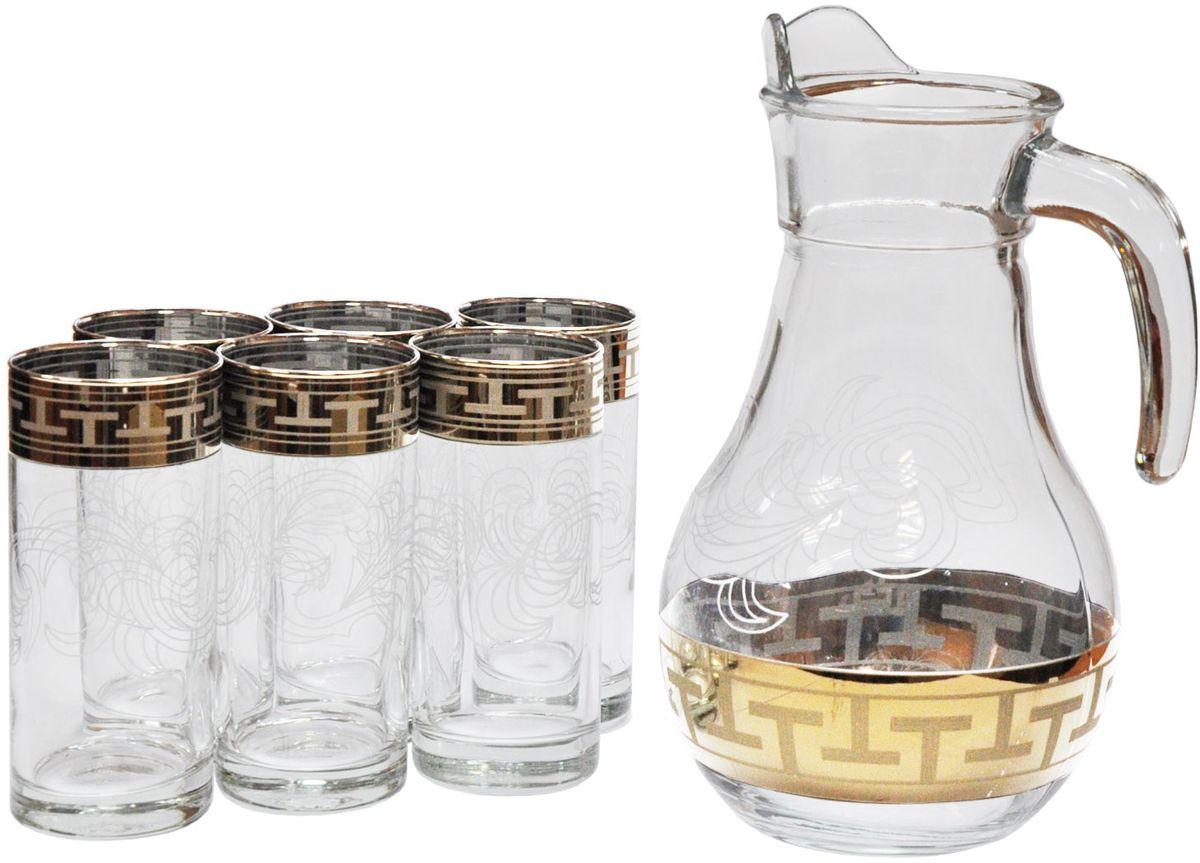 Набор для воды Гусь Хрустальный Греческий узор, 7 предметовVT-1520(SR)Набор для воды из 7 предметов с рисунком Греческий узор. Кувшин 1 л и 6 стаканов 290 мл. Материал Стекло. Артикул GE01-3944/402.